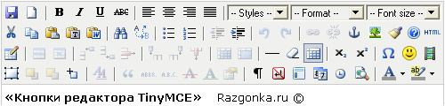 Кнопки редактора TinyMCE